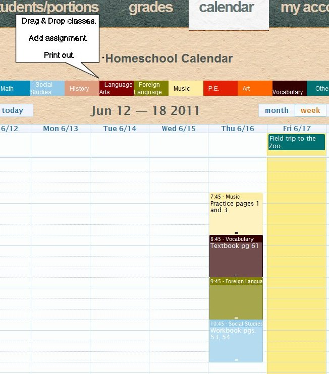 Homeschool Calendar/Scheduler